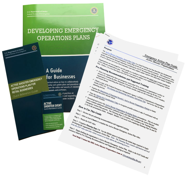 DHS how to guides given out at the Security Engineers, Inc. sponsored workshop Protecting Houses of Worship: Active Shooter & Violent Crimes Preparedness