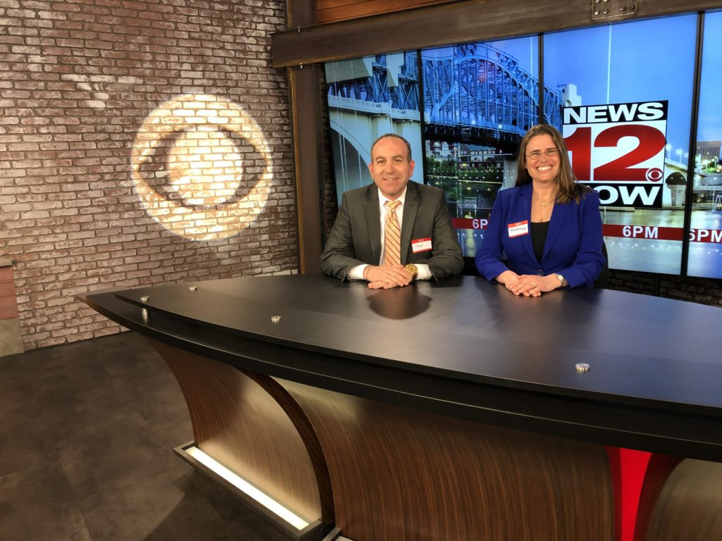 SEI managers Rebecca Strobl & David Deputy fill in as news anchors for News 12 Now